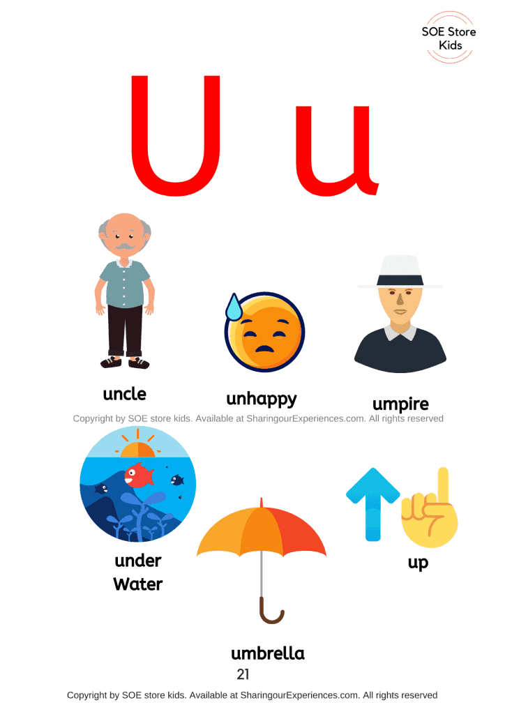 Pictures of things that start with the letter U/ letter 'u' sound words with pictures