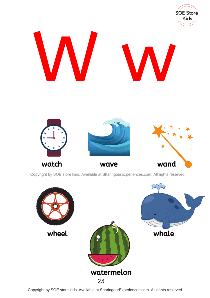 Pictures of things that start with the letter W/ letter 'w' sound words with pictures