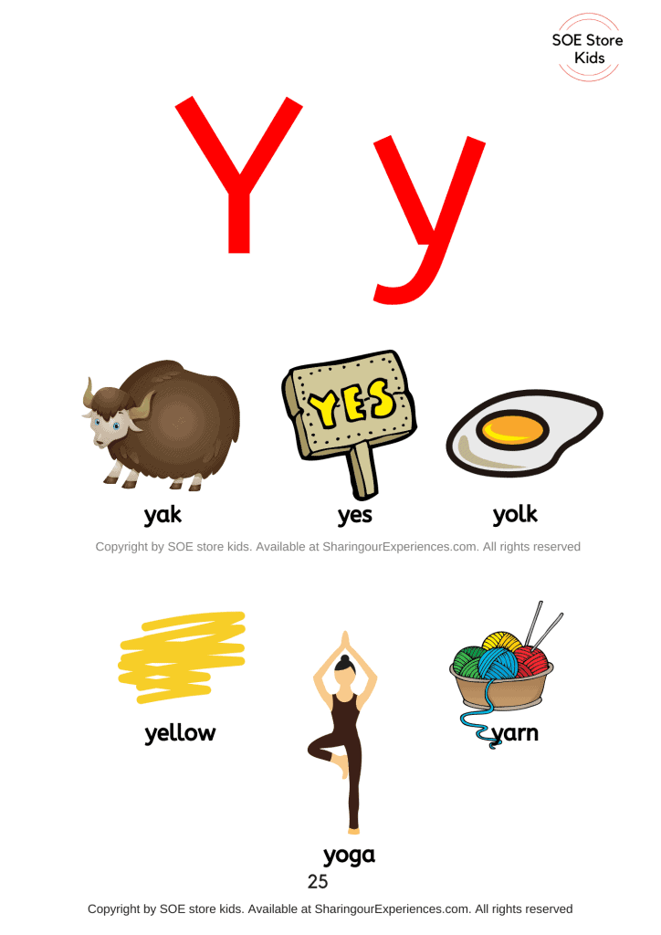 Pictures of things that start with the letter Y/ letter 'y' sound words with pictures