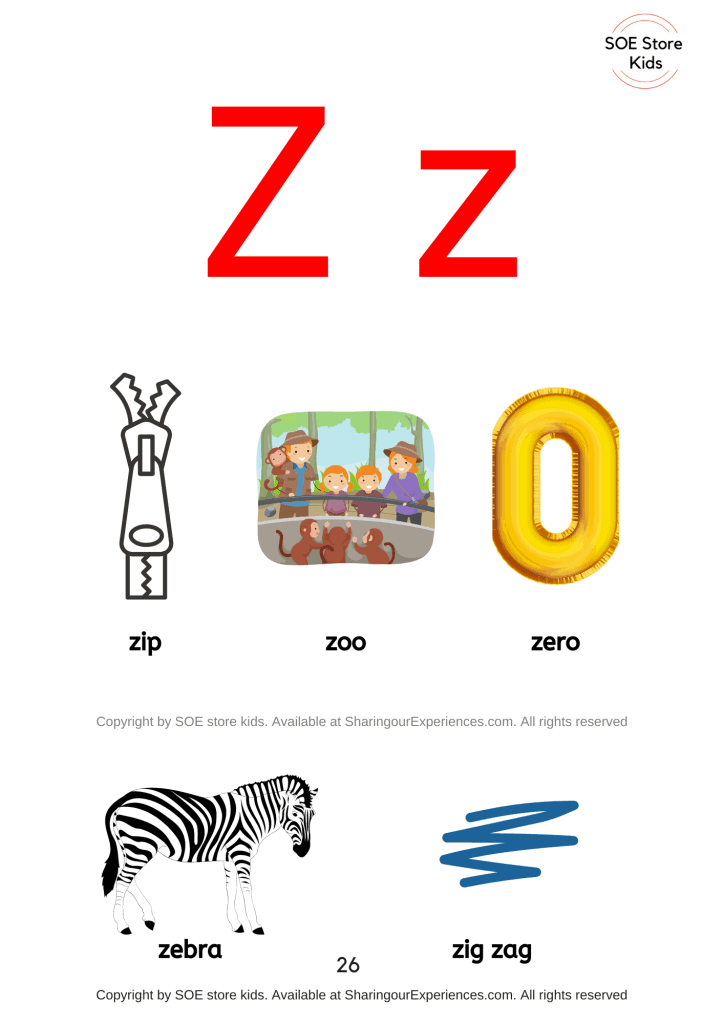 Pictures of things that start with the letter Z/ letter 'z' sound words with pictures