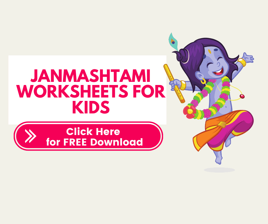 FREE Janmashtmi worksheets and activities for toddlers, preschoolers and nursery kids