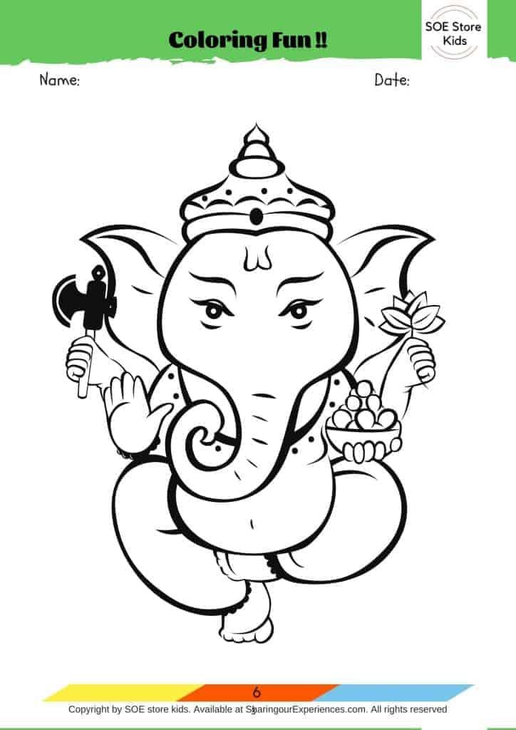 Free printable Ganesha Colouring sheet for kids