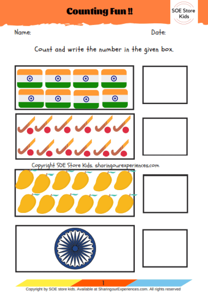 Easy & Fun FREE India Independence Day worksheets for kids. Learning about India in preschool Nursery and KG. India themed unit