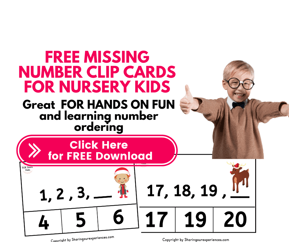 Missing number worksheets pdf 1- 20 pdf - Clip card format