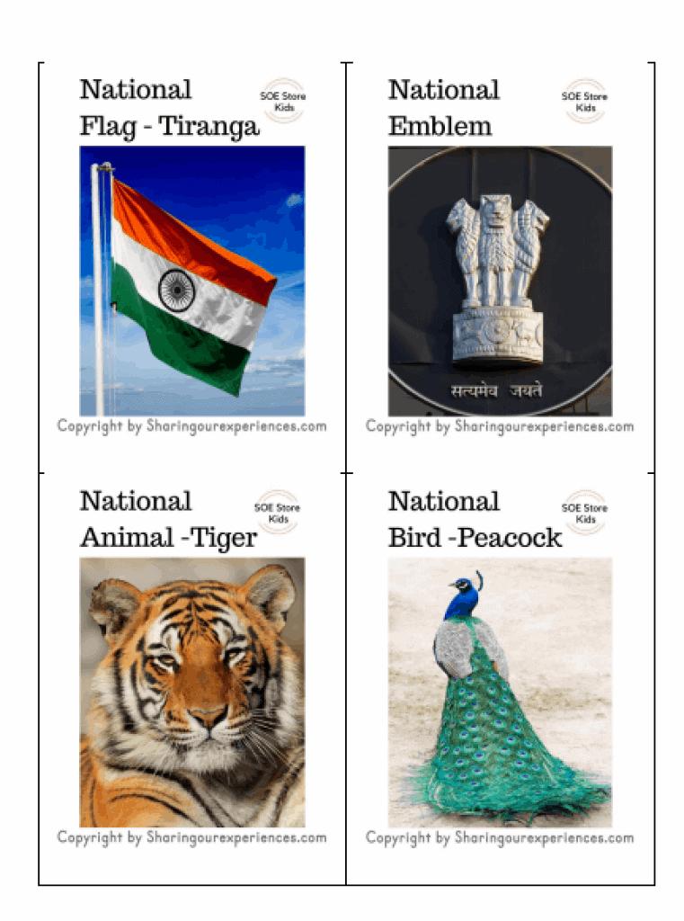 National symbols flashcards for kids - FREE printable pdf for instant download