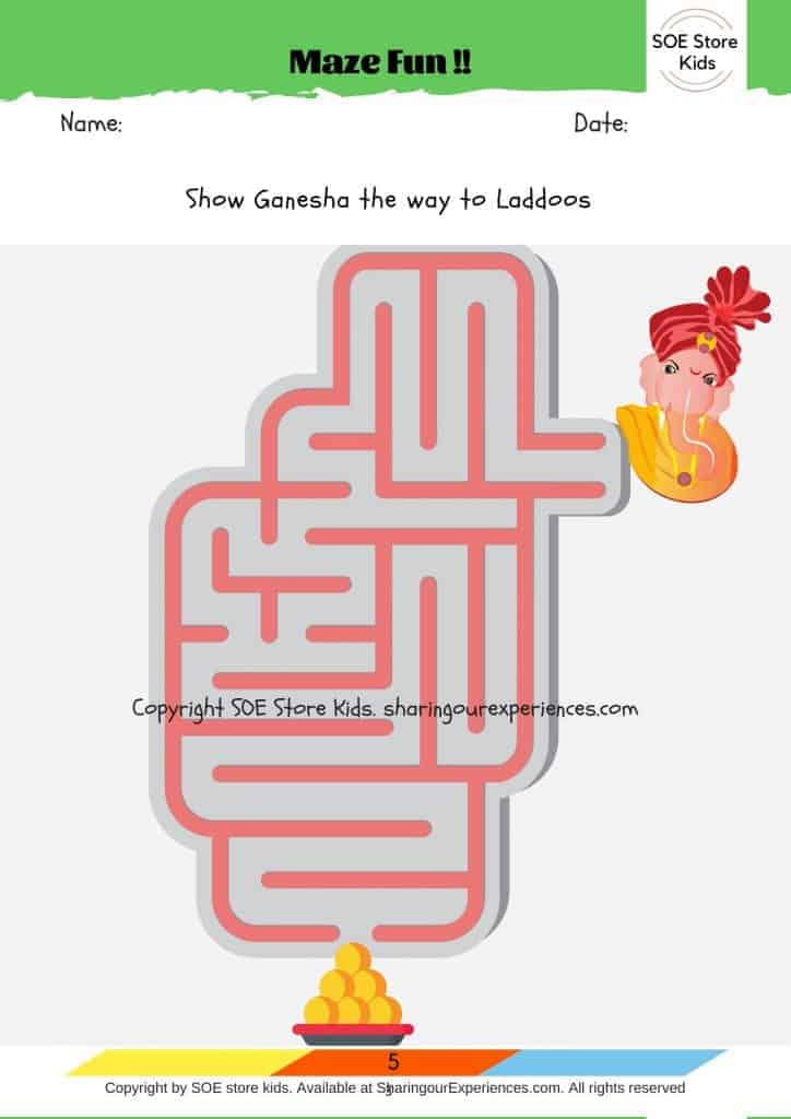 Free printable Ganesha activities worksheets for kids. Printable mazes for kids