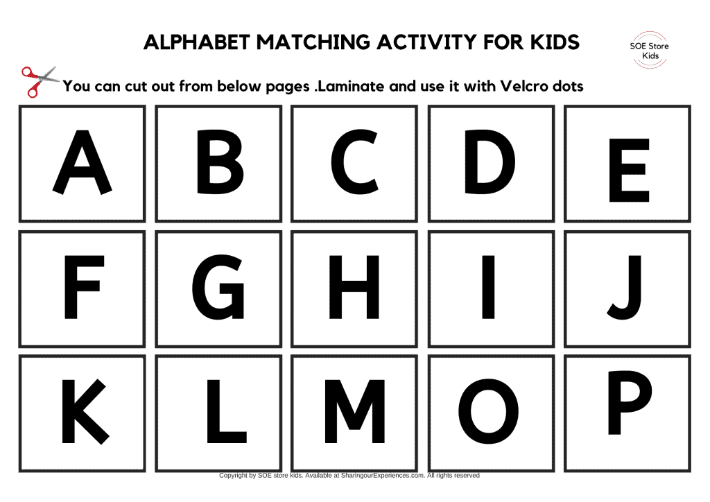 Cut and paste matching  Capital and Small ABC  Alphabet matching activities toddlers pdf printable worksheets