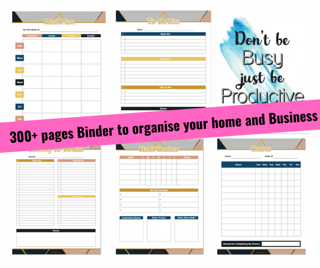 Organise your home and Business printables To do list Habit tracker Business goals tracker