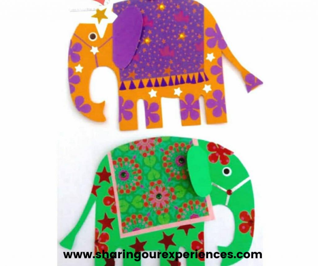 Easy Diwali craft for kids. Diwali Elephant Paper craft for kids. Suitable for all age groups - toddlers, nursery, kindergarten kids
