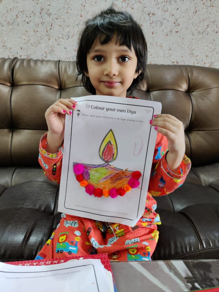 Diwali printables worksheets for Diya craft . Great for toddlers and preschoolers