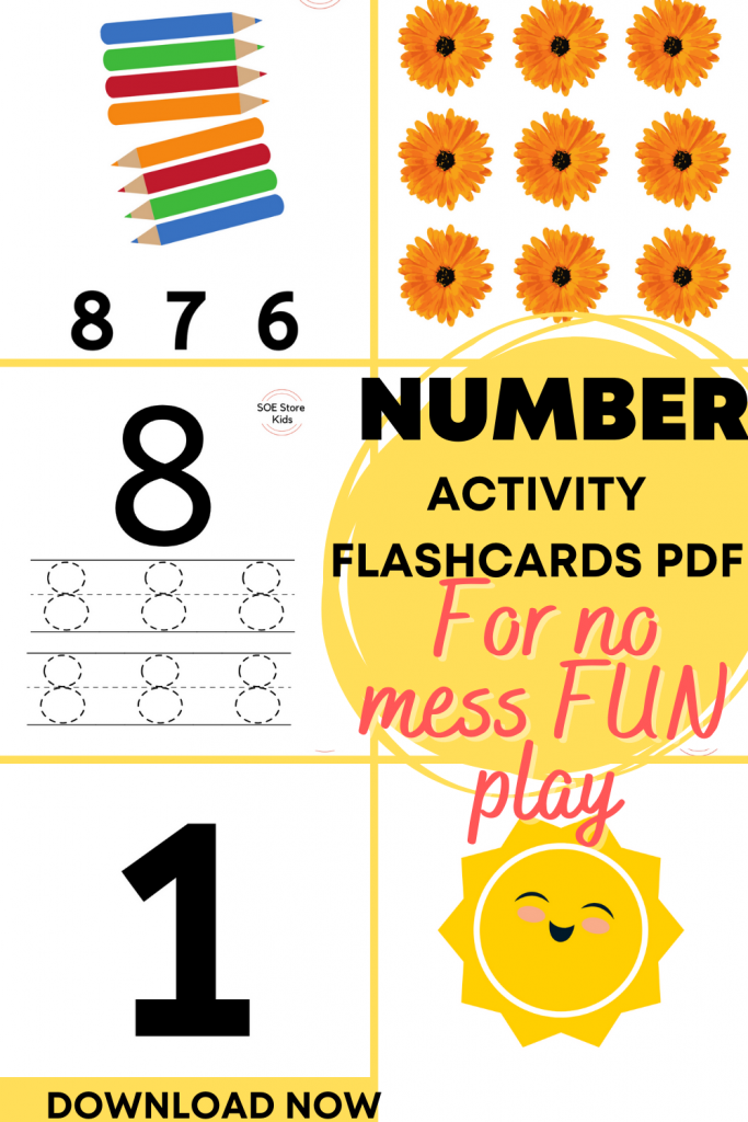 Number activity flashcards set for kids