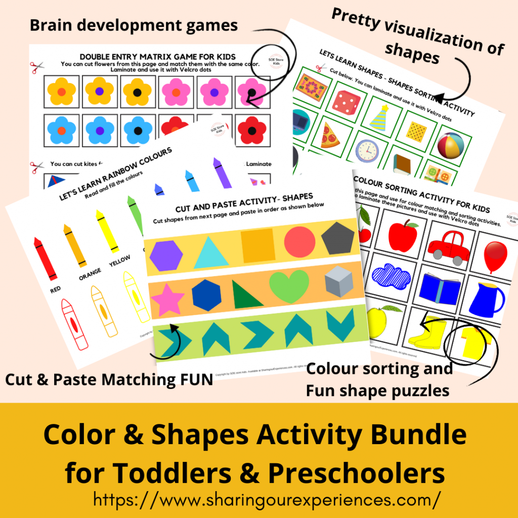 Colours and shapes activity bundles learning bindre for preschool toddler kids