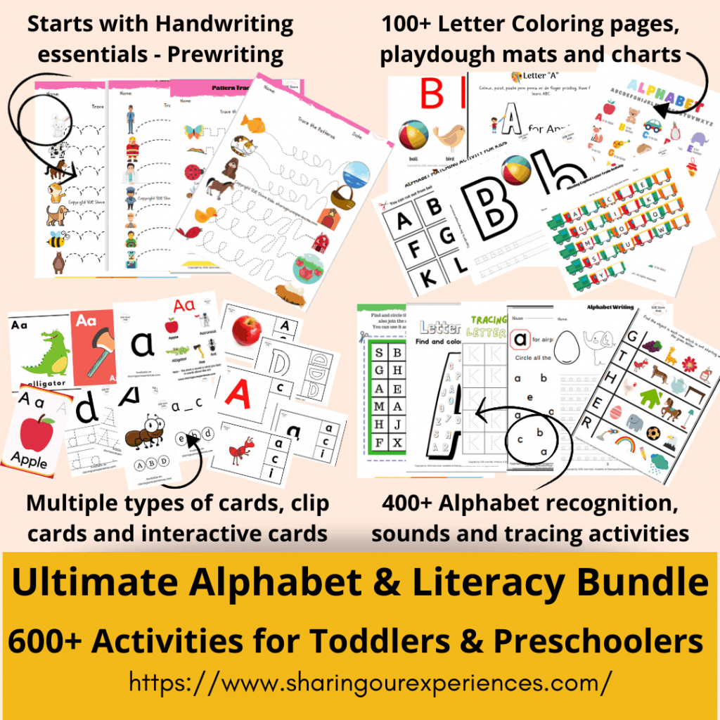 Ultimate alphabet activities and literacy bundle for toddlers preschoolers mock up