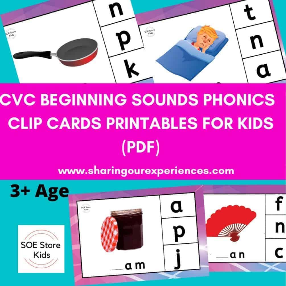 CVC word family clip cards Beginning sounds