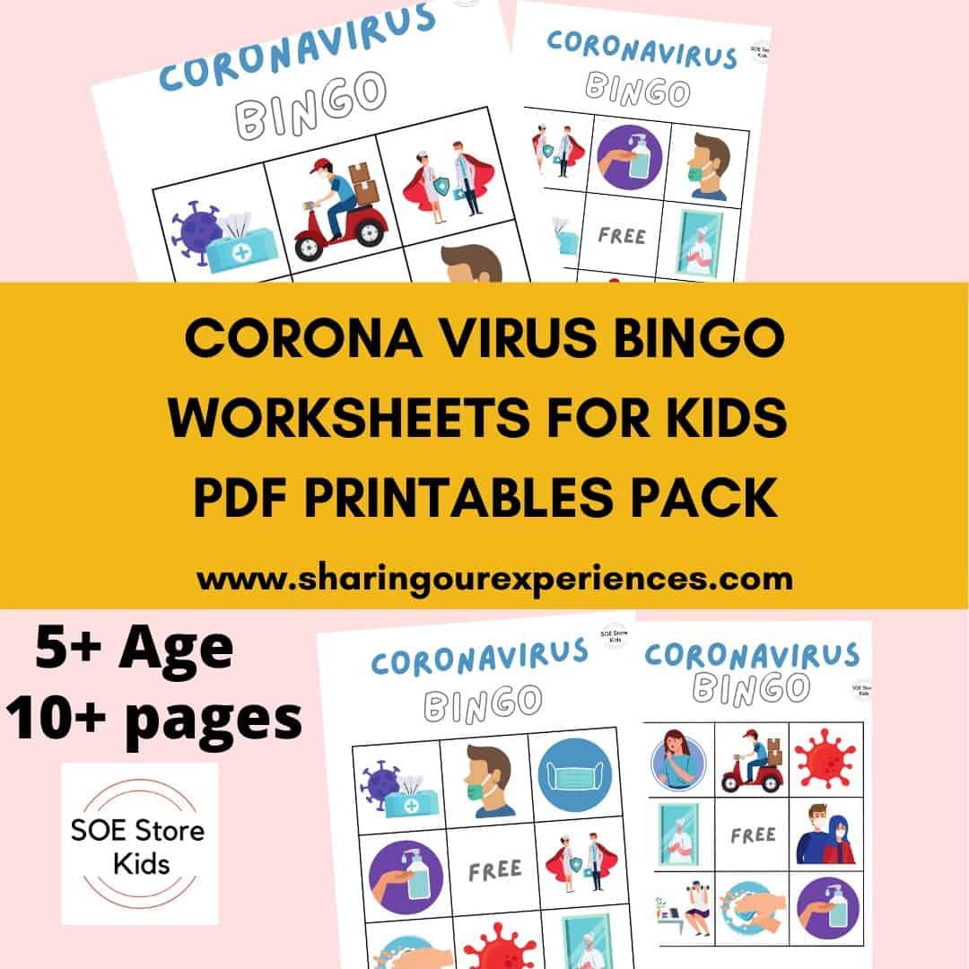 Corona Bingo Printable 3x3 for Kindergarten kids