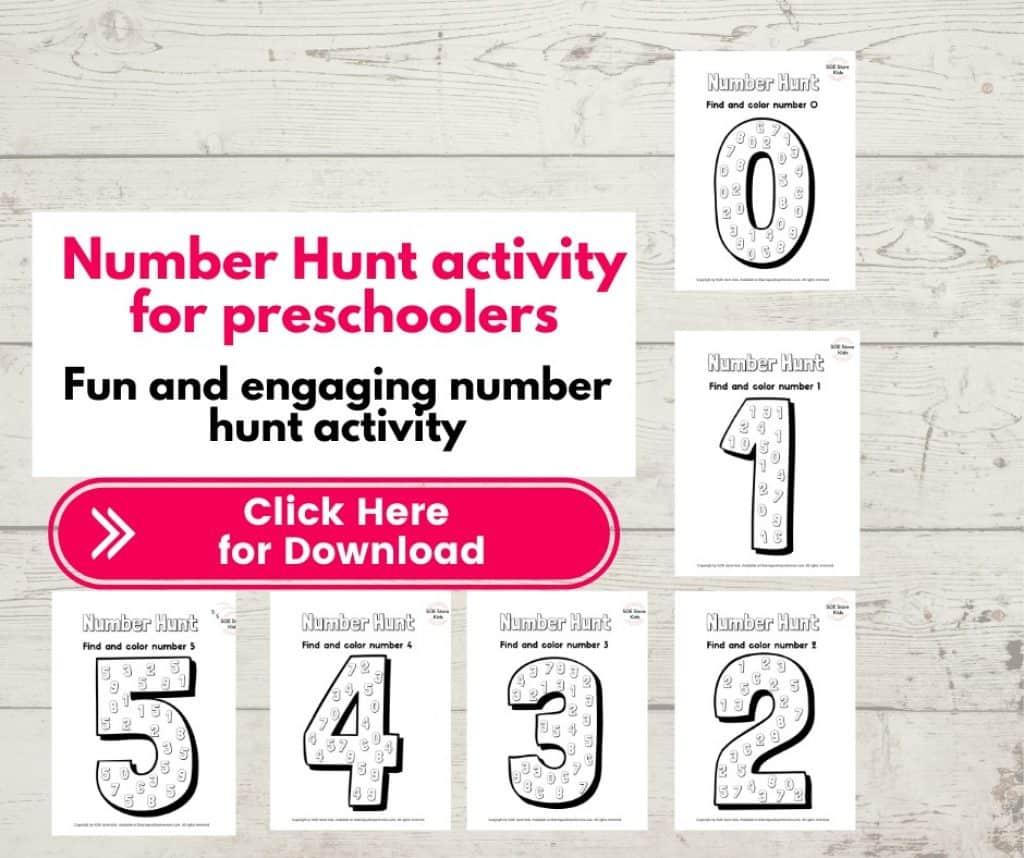 Number Hunt Worksheet for preschoolers