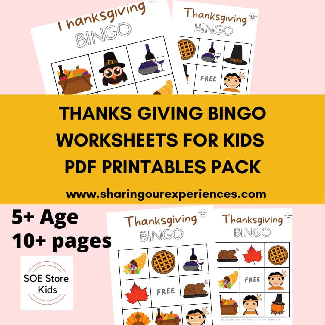 Thanksgiving Bingo Printable 3x3 for Kindergarten kids
