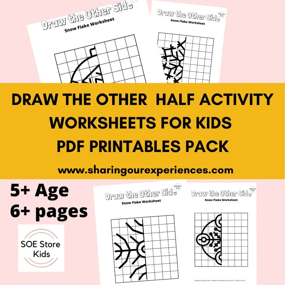 Draw the other half activity worksheets for kids PDF printable pack