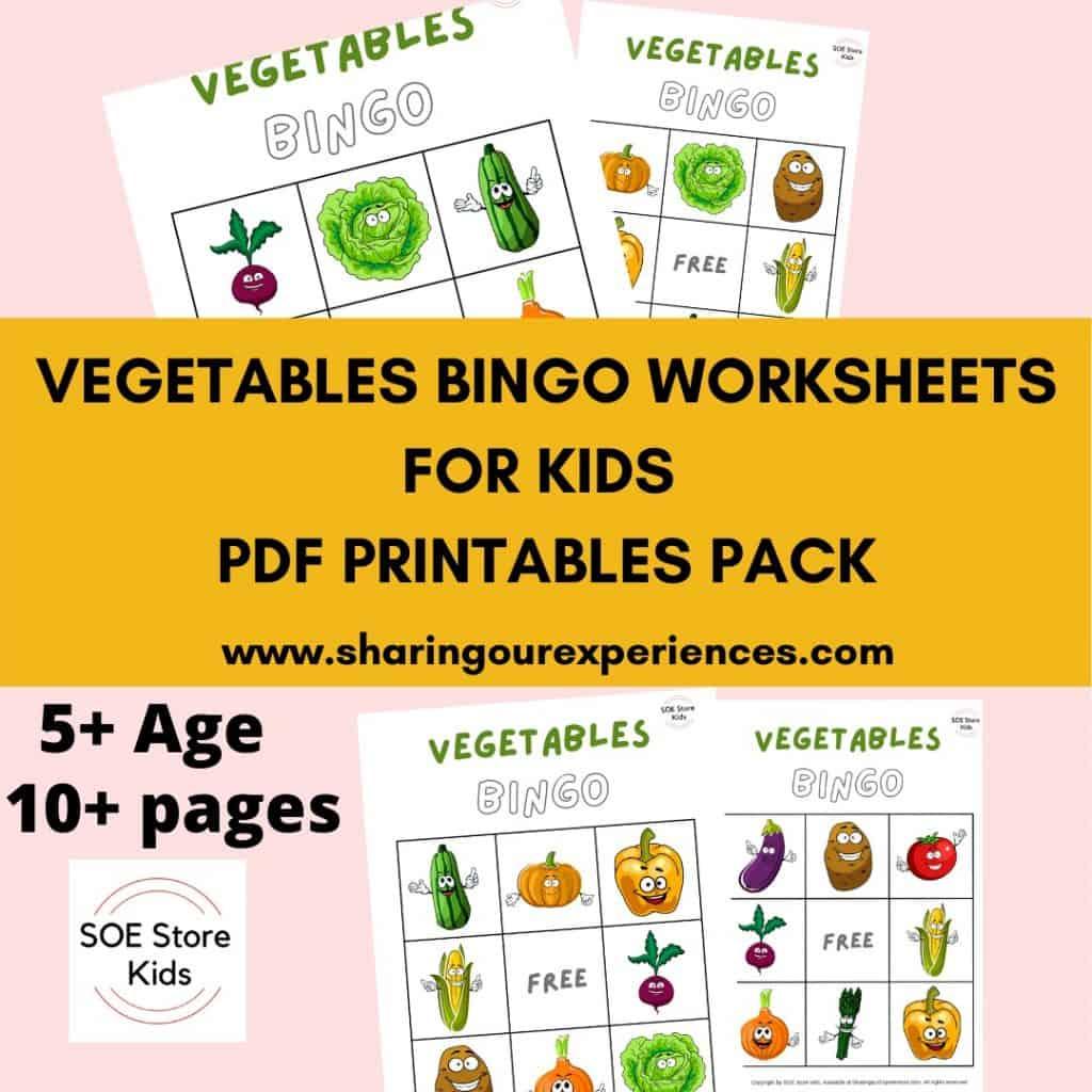 Vegetables Bingo Printable 3x3 for Kindergarten kids