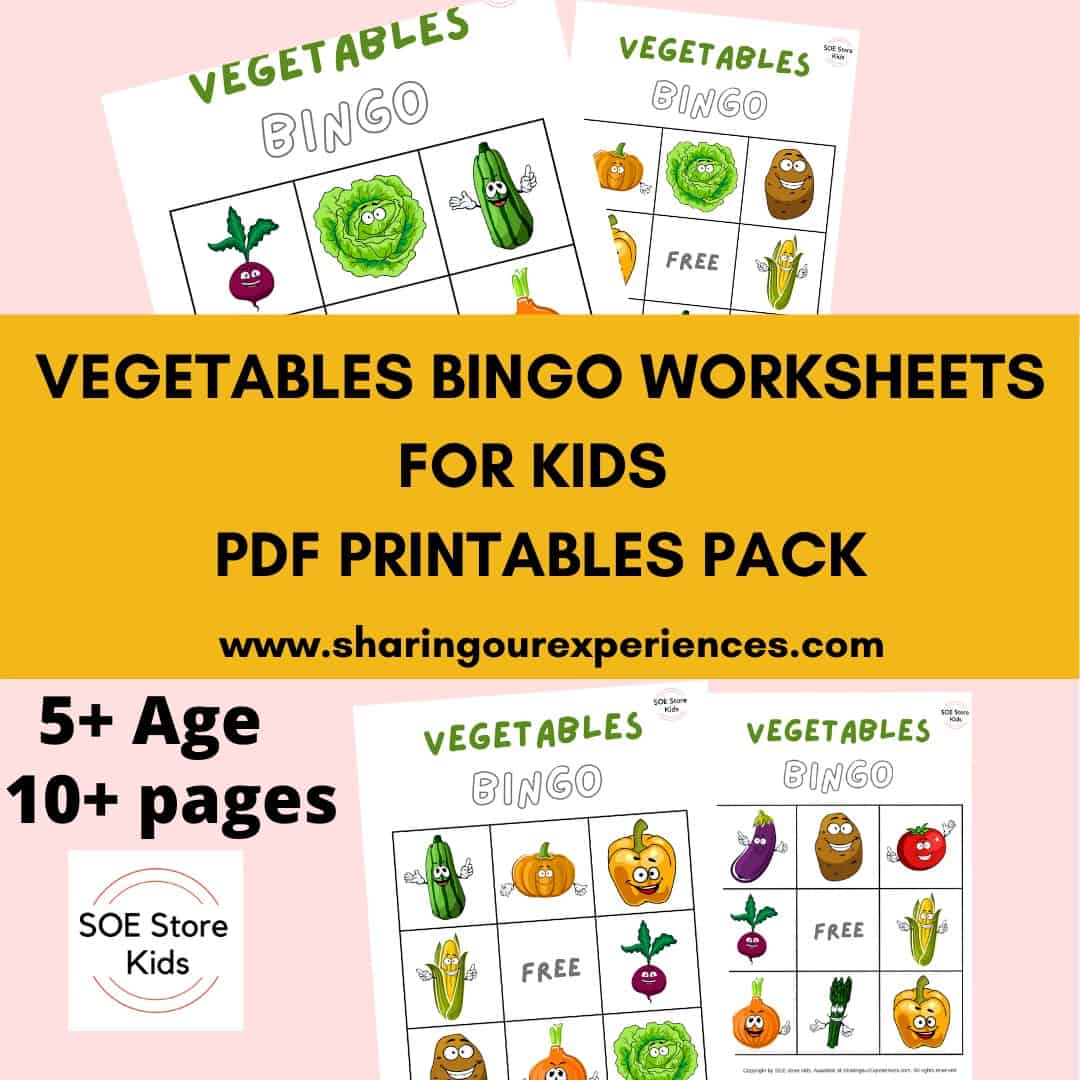 Vegetables Bingo Printable 3x3 for Kindergarten kids