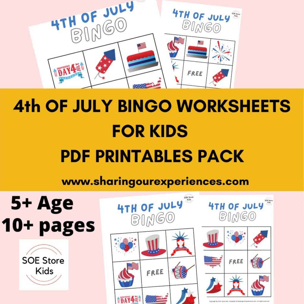 4th of July Bingo Printable 3x3 for Kindergarten kids