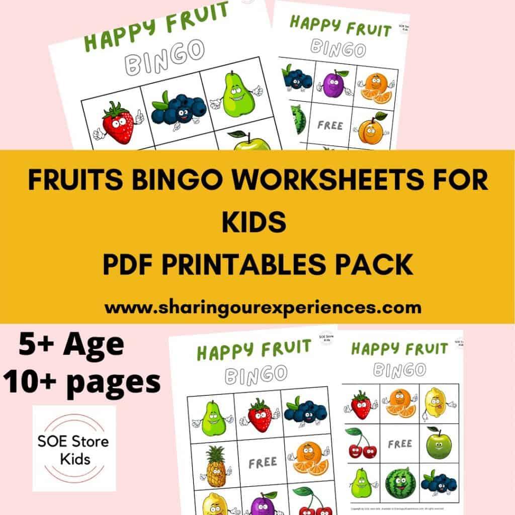 Fruit Bingo Printable 3x3 for Kindergarten kids