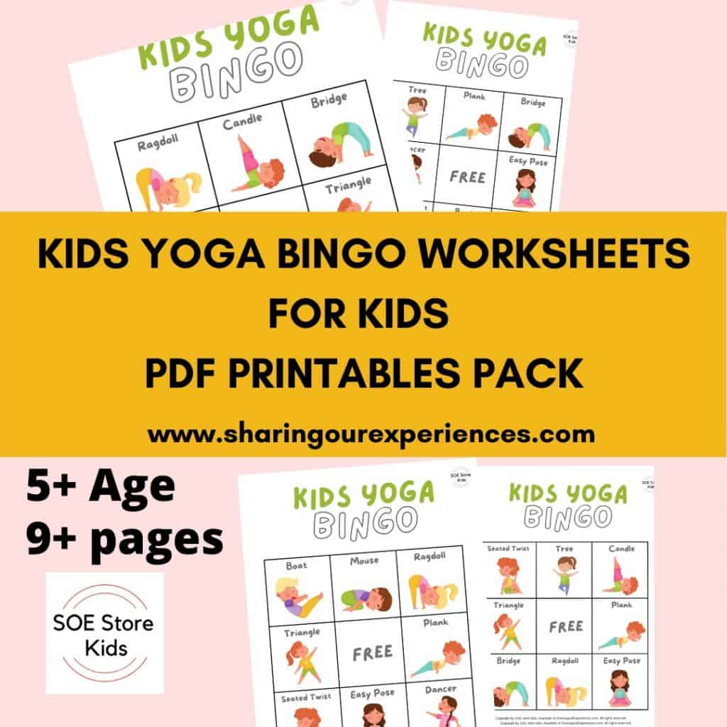 Kids Yoga Bingo Printable 3x3 for Kindergarten kids