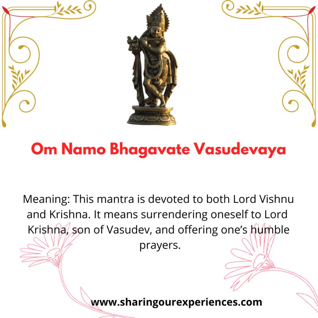 Easy and famous Sanskrit Krishna Shloka and Mantra with meaning ion English- Om Namo Bhagavate Vasudevaya