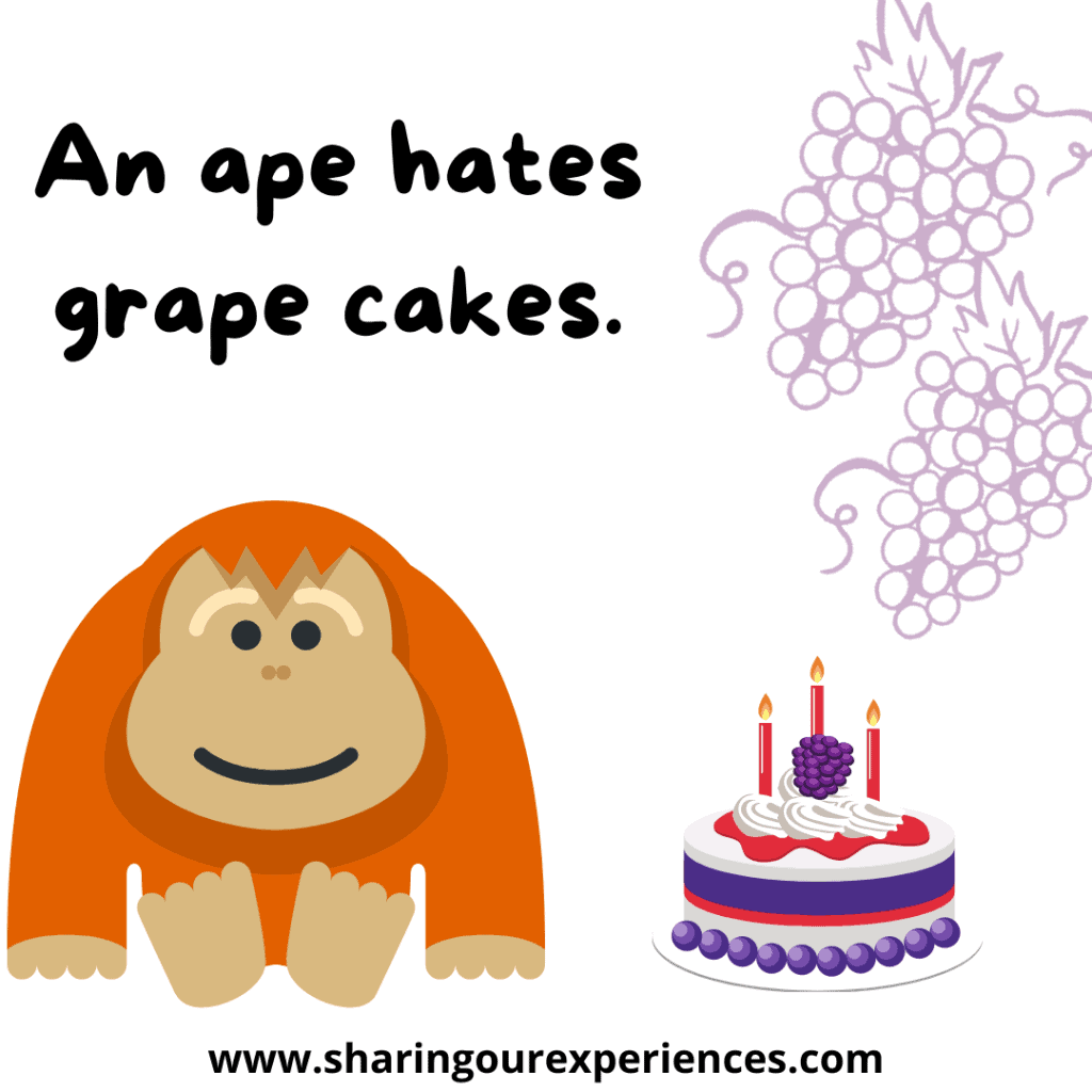 Easy and popular English tongue twister for kids An ape hates grape cakes.