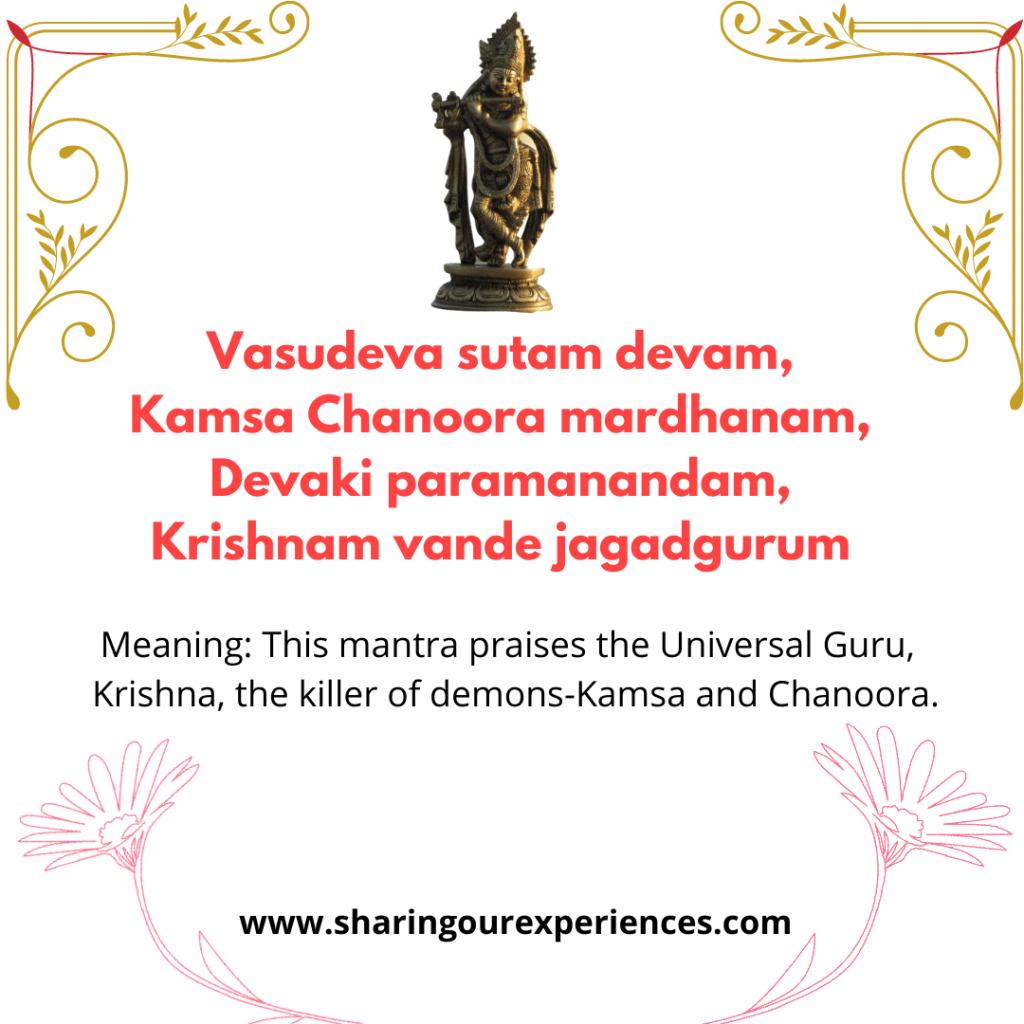 Famous Sanskrit mantra and shlok with meaning in English- Vasudeva sutam devam, Kamsa Chanoora mardhanam, Devaki paramanandam, Krishnam vande jagadgurum