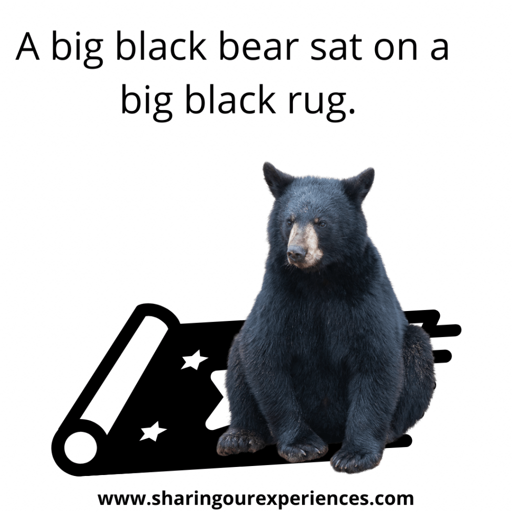 Famous and easy English tongue twister for kids. A big black bear sat on a big black rug.