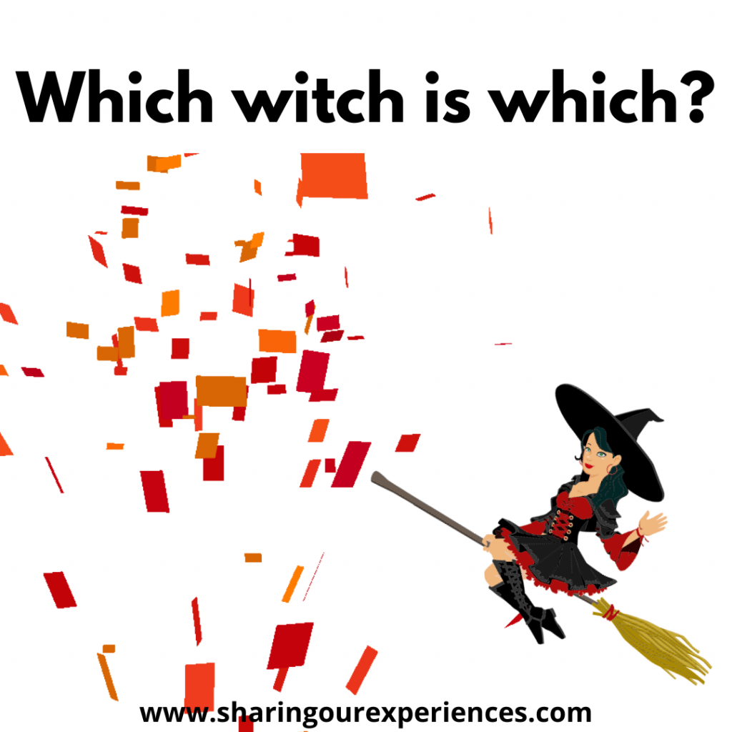 Fun and easy English tongue twisters for kids which witch is which.