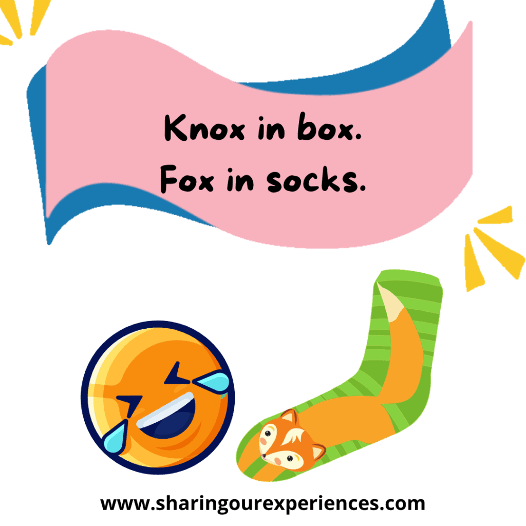 Funny English tongue twisters for kids. Knox in box fox in socks.png