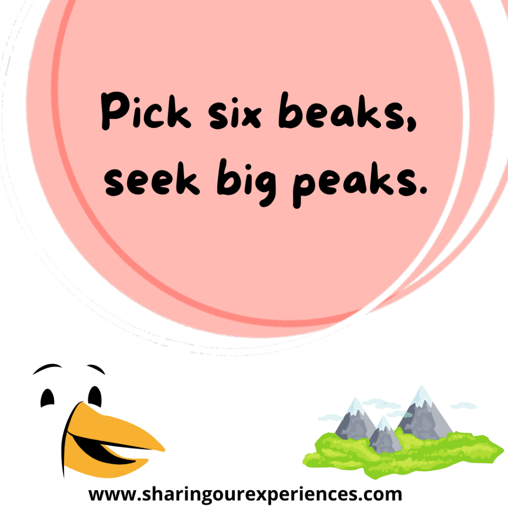 Funny and difficult English tongue twister for kids Pick six beaks seek big peaks.