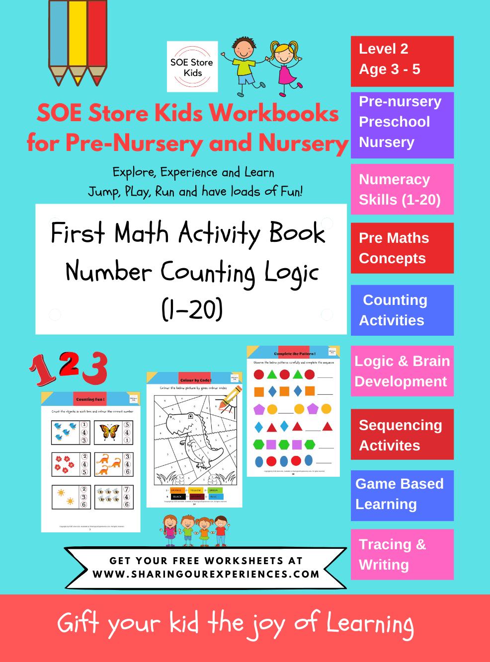 First Math Activity books for preschool nursery kids