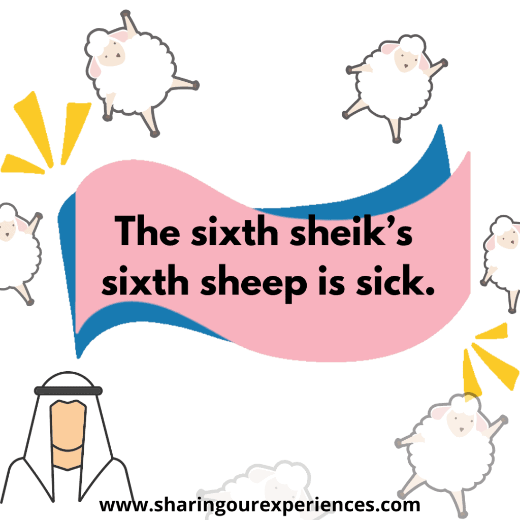 Most difficult and famous tongue twister in English for kids. The sixth sheik's sixth sheep is sick.png