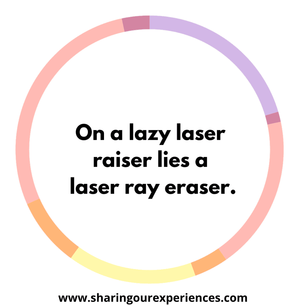 Popular English tongue twister for kids. On a lazy laser raiser lies a laser ray eraser.png
