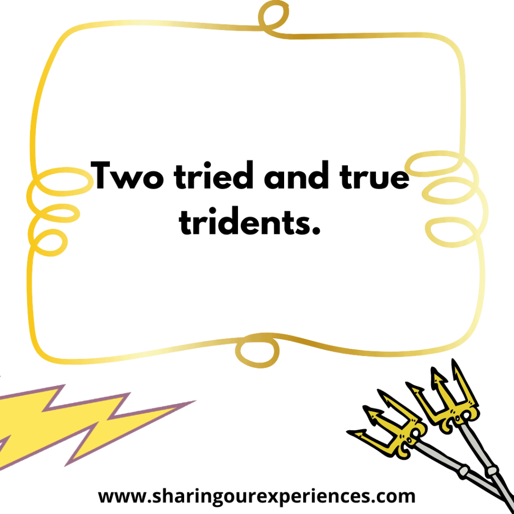Popular English tongue twister for kids Two tried and true trident.