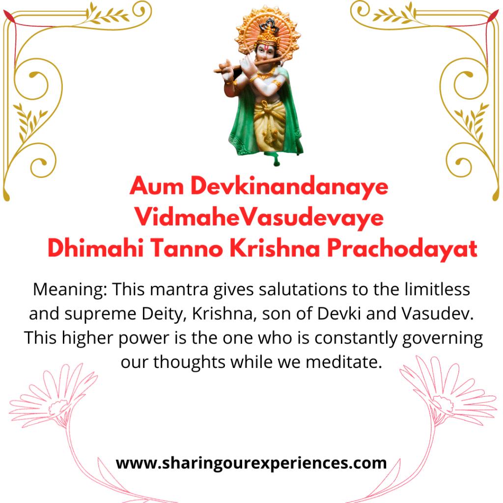 Famous sanskrit Shlok and Mantra -Aum Devkinandanaye Vidmahe Vasudevaye Dhi-MahiT anno Krishna Prachodayat