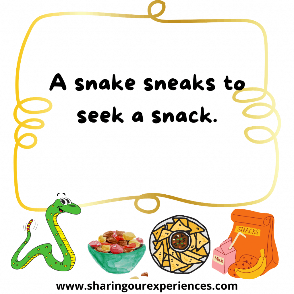 Popular and easy English tongue twisters for kids. A snake sneaks to seek a snack.png