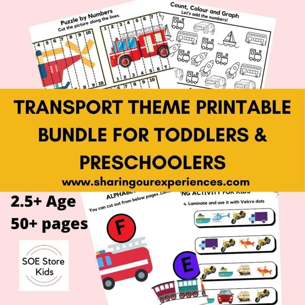 Transport Theme Printable Bundle for Toddlers & Preschoolers