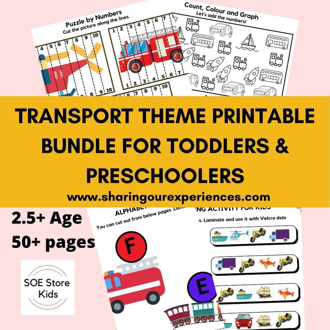 Transport Theme Printable Bundle for Toddlers & Preschoolers
