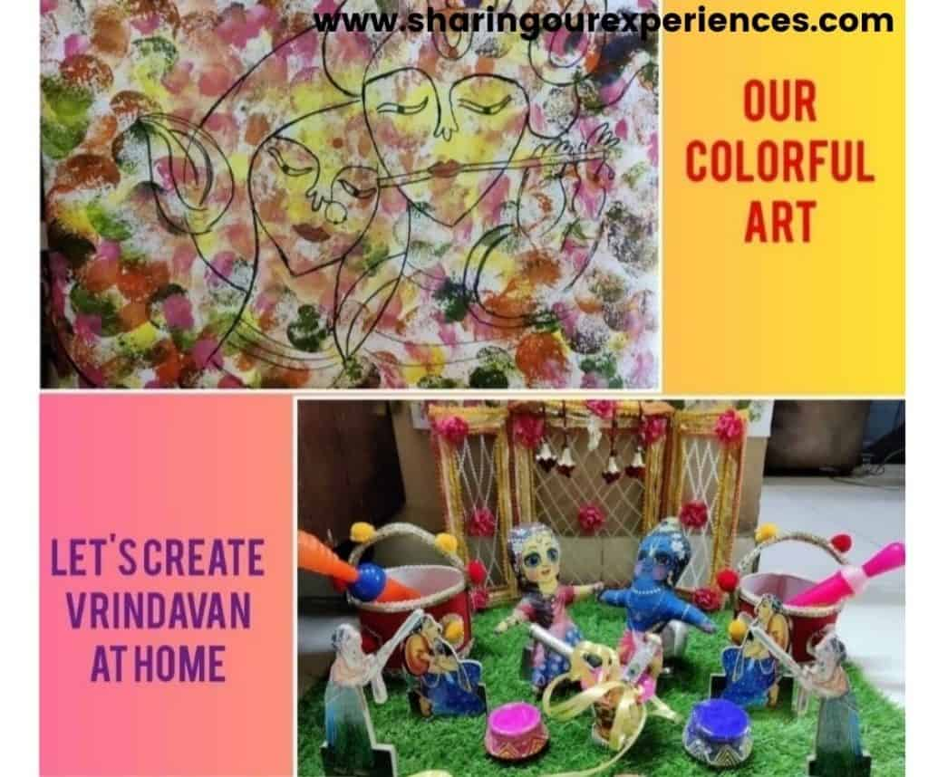 Colorful Holi art and craft activity for toddler, preschooler and kindergartens. Ideal for theme based project and story reading props.