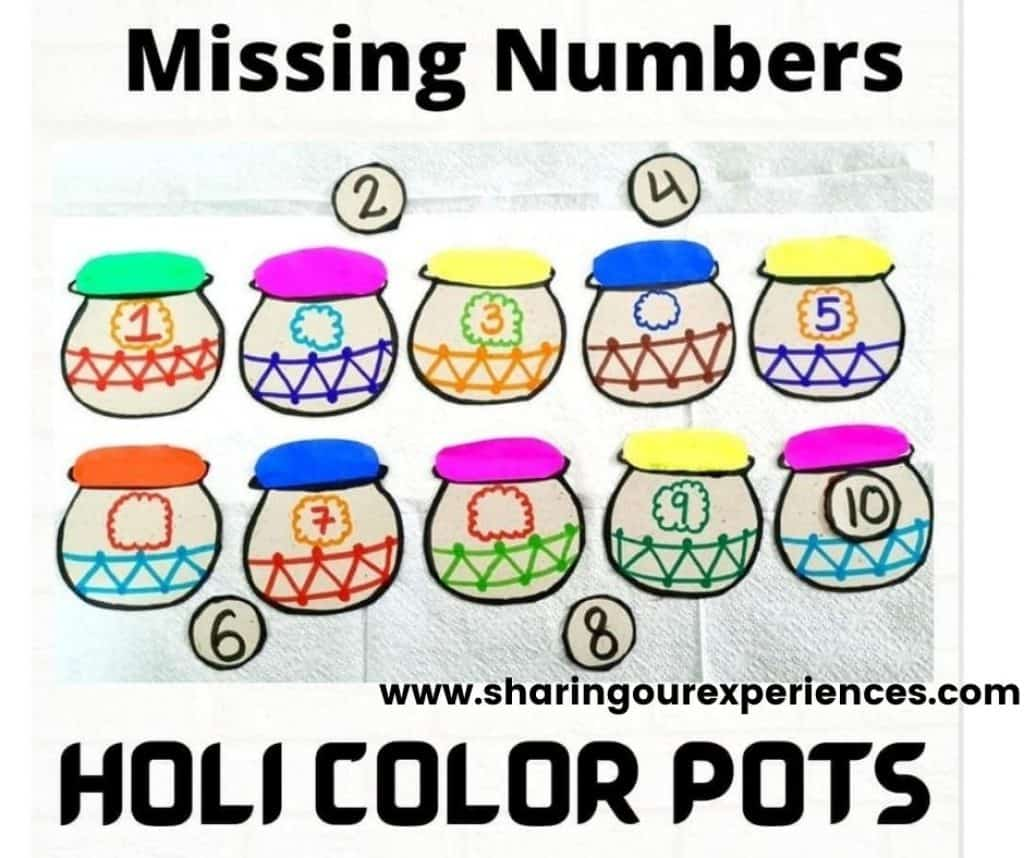Easy to do Holi colors pots missing number activity for toddlers, preschooler and kindergartens. Perfect for activity based learning and theme projects.