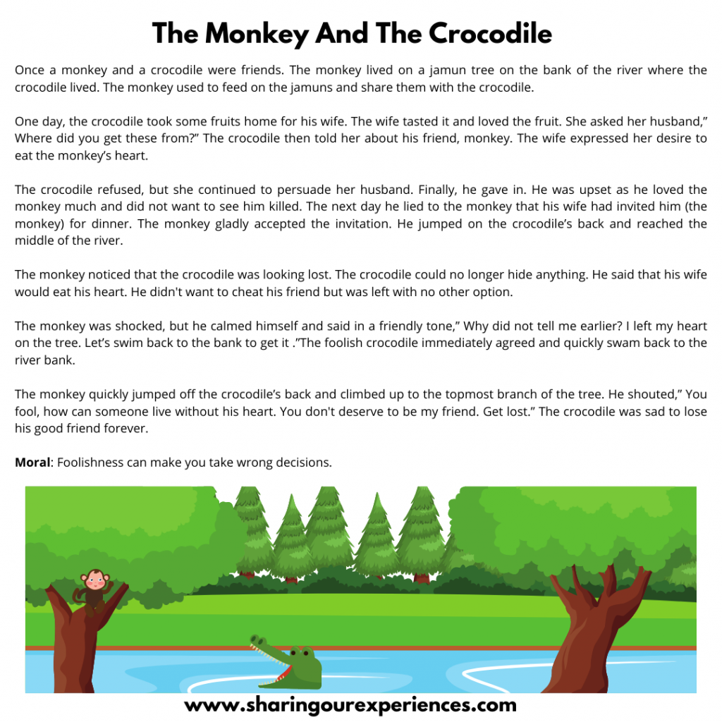 All- Time Popular Bedtime Stories  For Kids- The Monkey And The Crocodile.