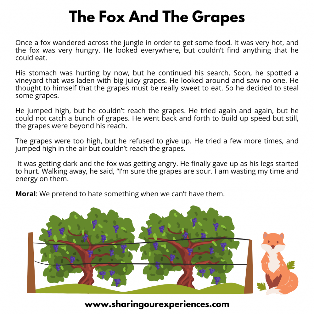 Famous Moral Stories For Kids- The Fox And The Grapes.