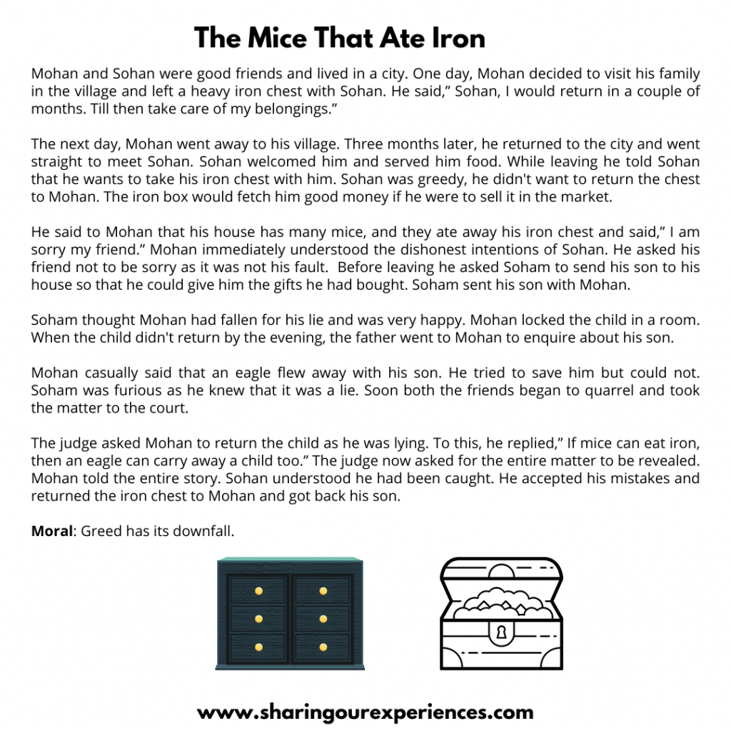 Famous Moral Stories For Kids- The Mice That Ate Iron