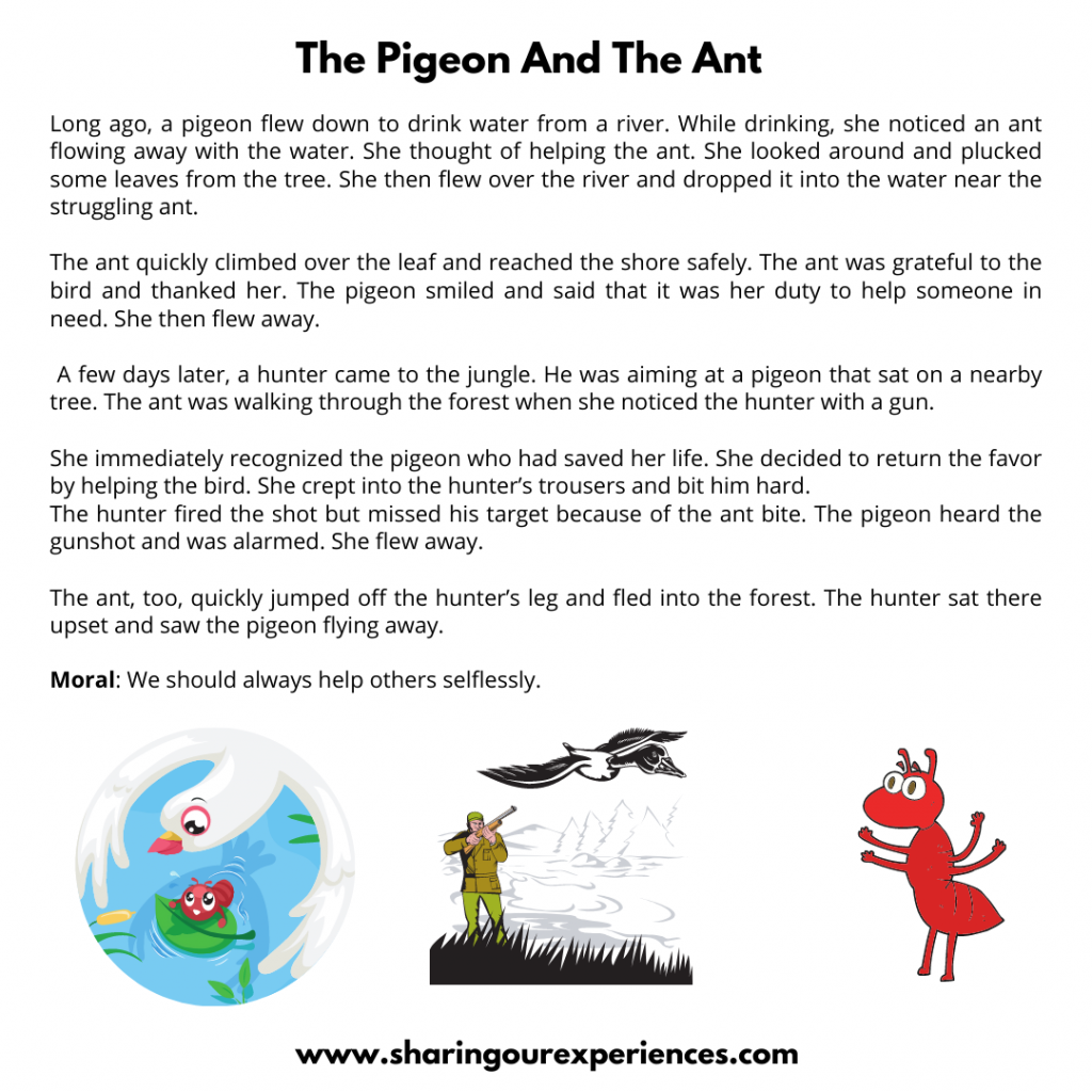 Famous Moral Stories For Kids- The Pigeon And  The Ant.