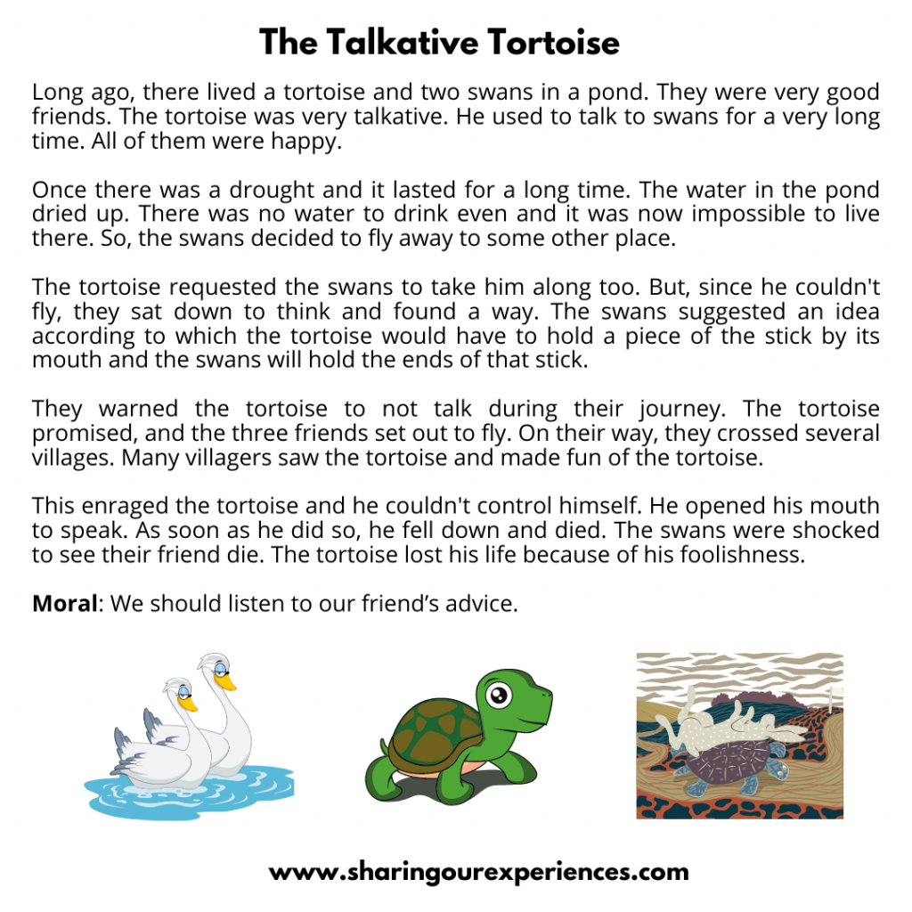 Famous Moral Stories For Kids- The Talkative Tortoise.