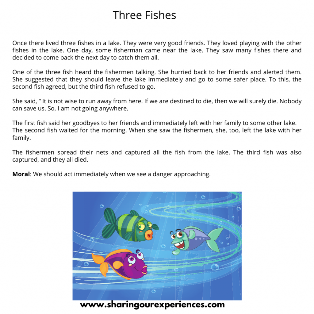 Famous Moral Stories For Kids- Three Fishes.